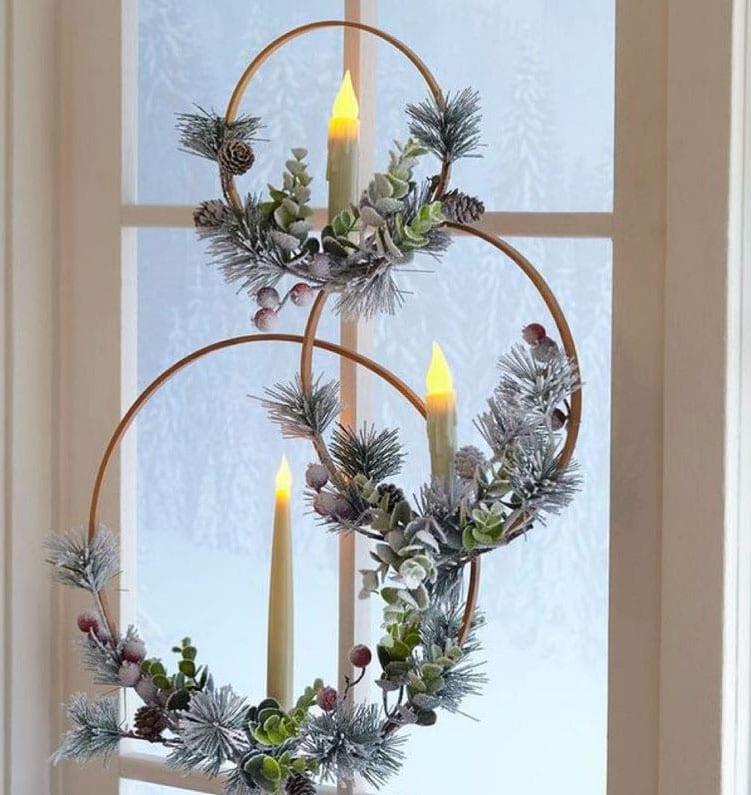 Cercle Bougie Fenetre Deco Noel
