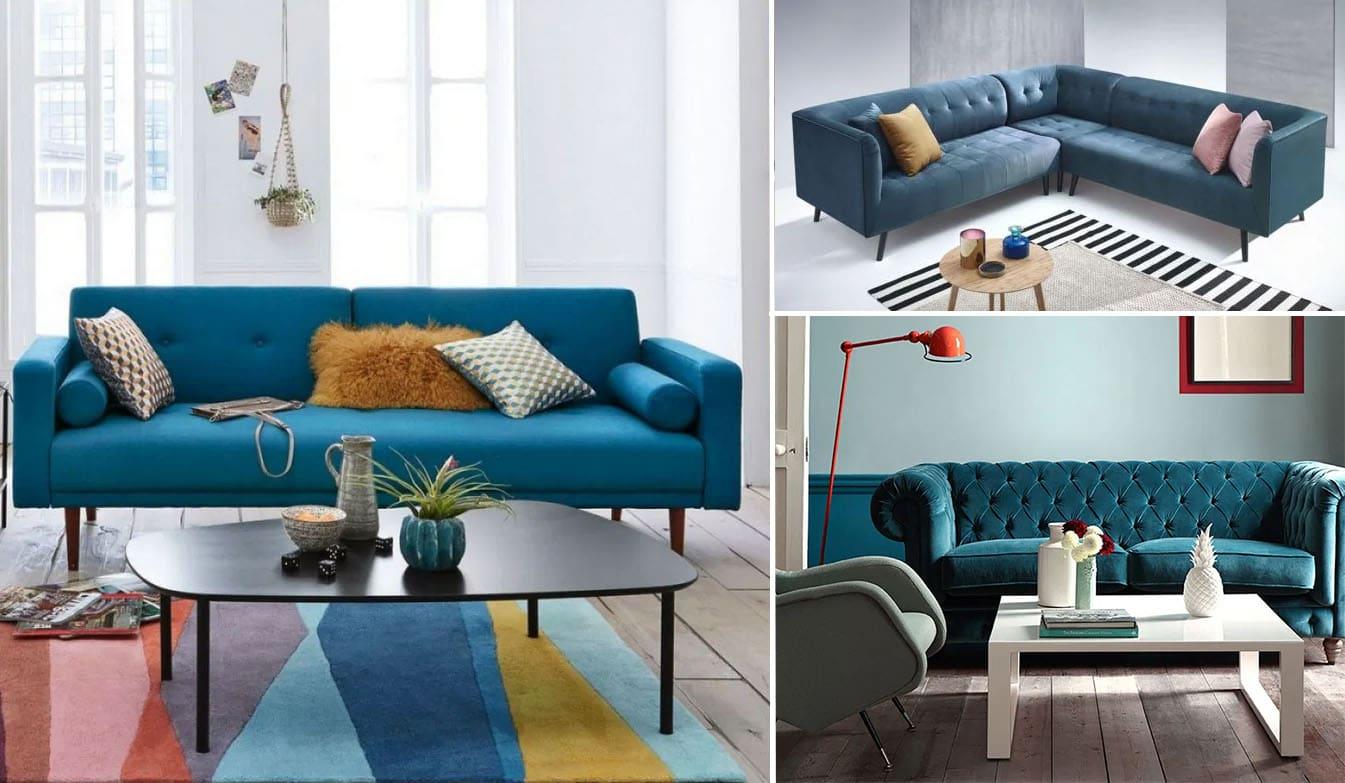 Canapé bleu canard : Selection de 16 modèles pour votre salon !