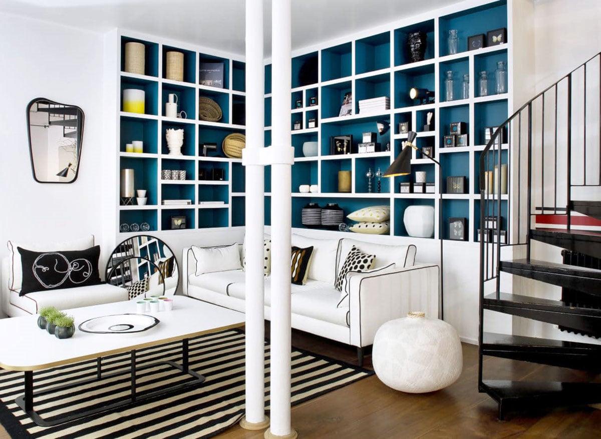 Salon Gris Et Bleu Canard salon bleu canard : toutes nos idées pour une décoration