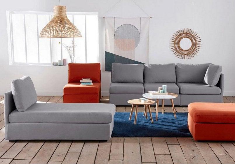 Canapé Modulable Bicolore