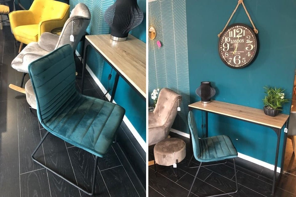 Chaise Style Industriel En Velours Margot Bleu Canard