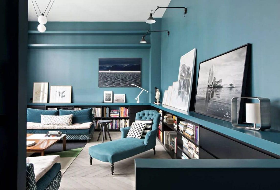 Salon Bleu Canard Et Noir