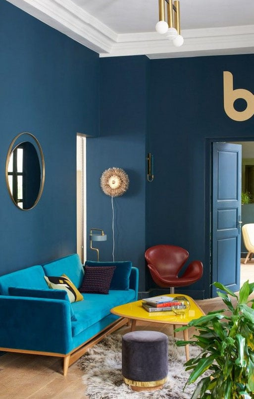 Salon Bleu Cyan Et Turquoise