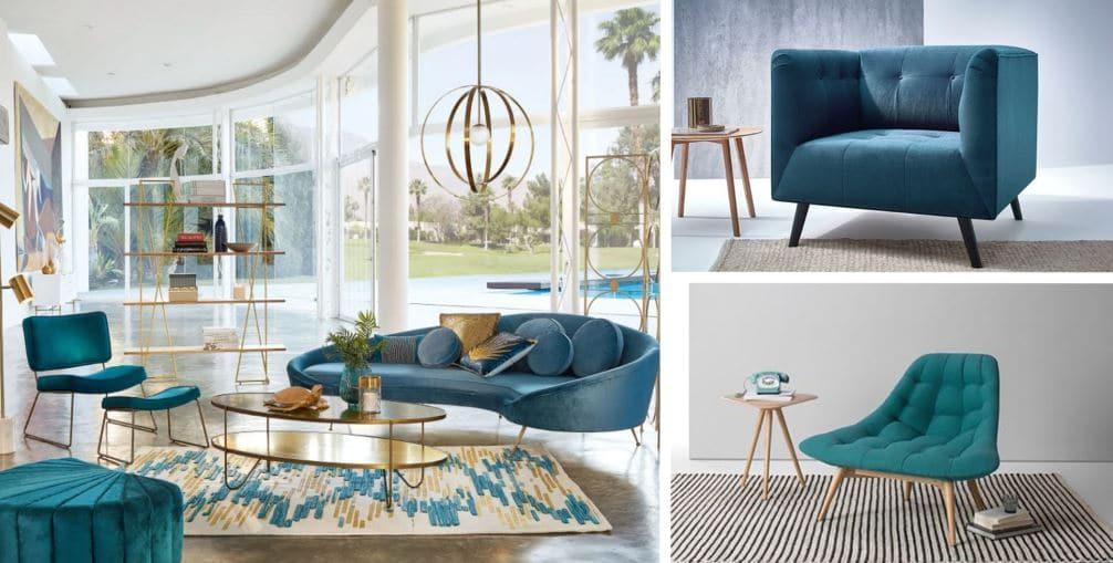 Fauteuils Bleu Canard Design