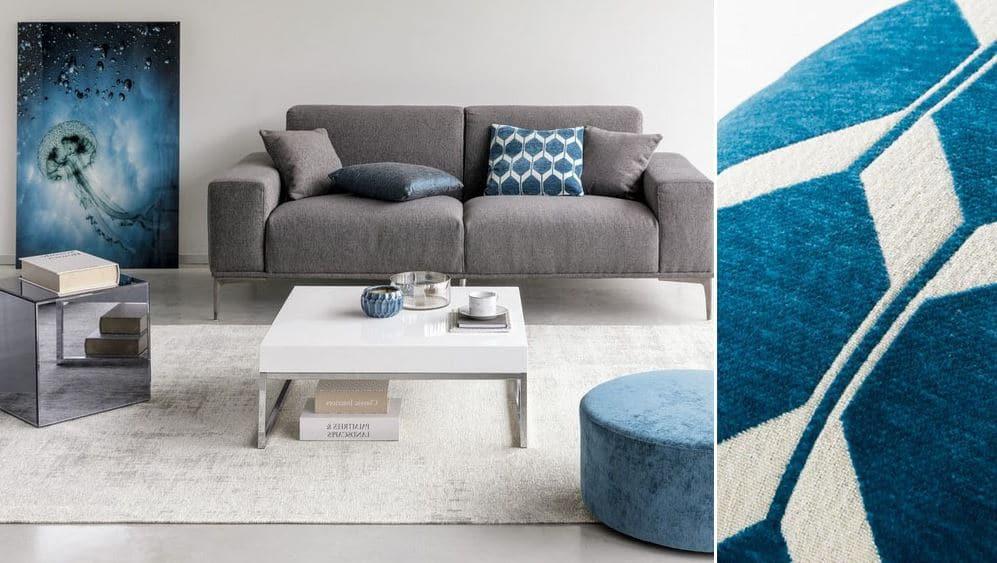Coussin Blanc Et Bleu