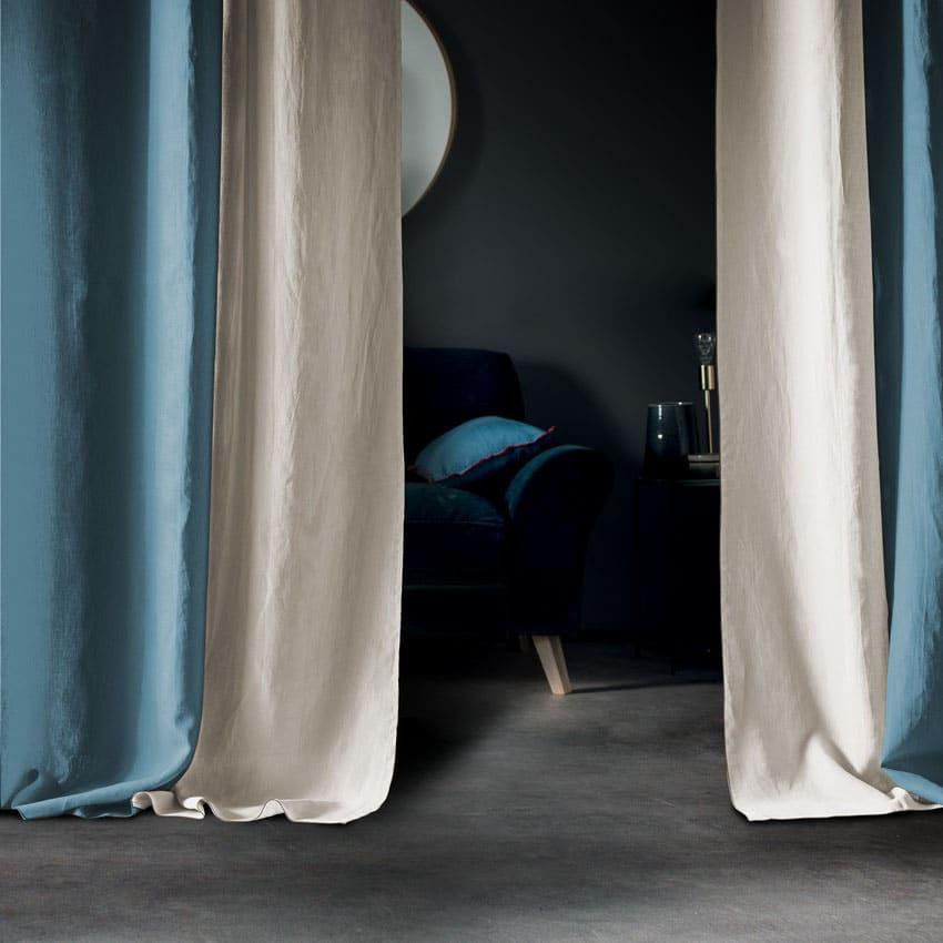 Rideaux En Lin Bleu Et Blanc