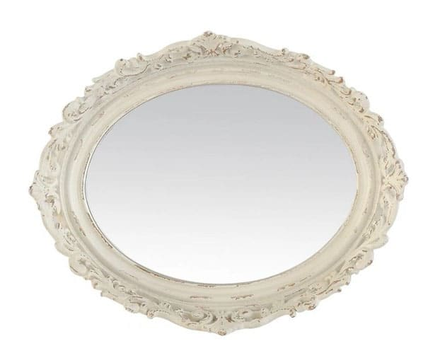 Miroir Ovale Blanc Cassé