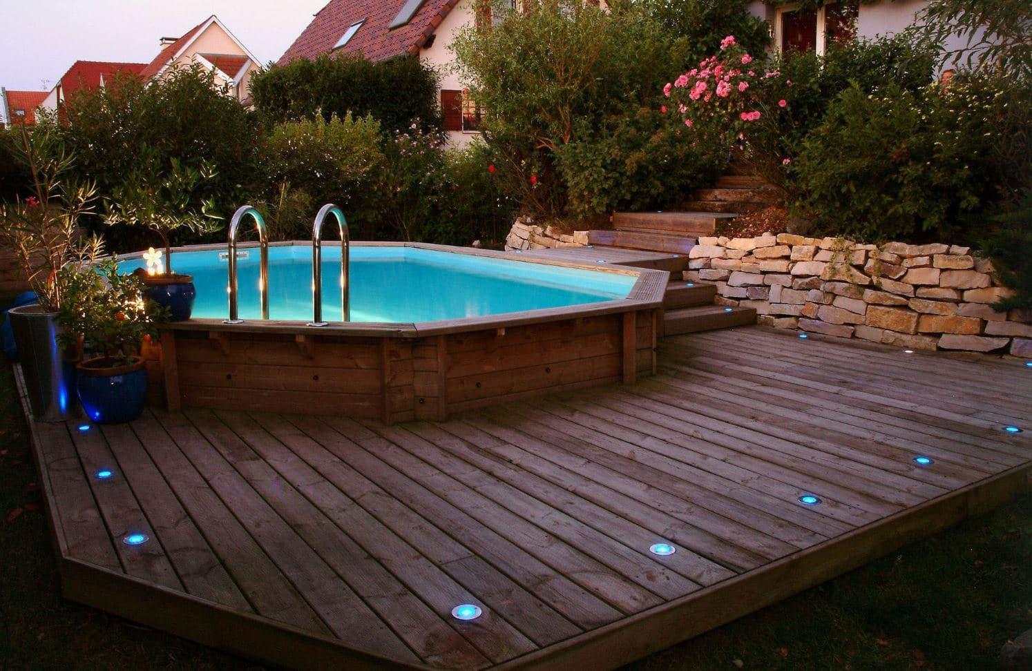 Piscine Tubulaire Terrasse Bois piscine bois semi enterrée : sélection des meilleurs modèles