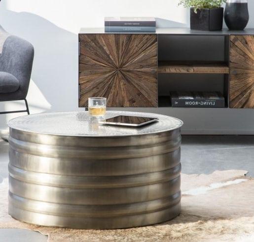 Table Cylindrique En Métal