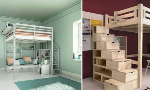 Lit Mezzanine Avec Rangement © Espace Loggia