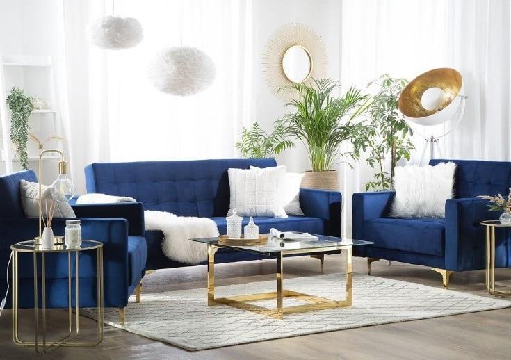 Bleu, Beige Et Or