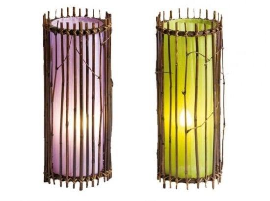 Lampe Bambou Et Soie