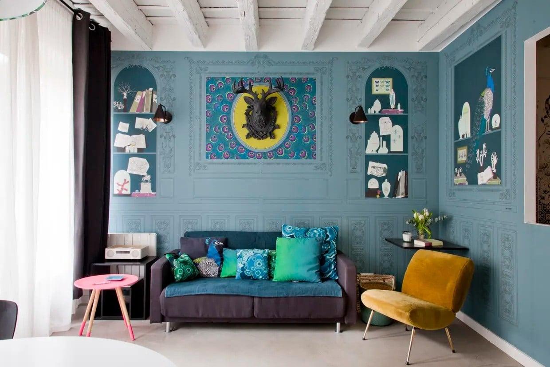 Salon Bleu Gris Et Jaune