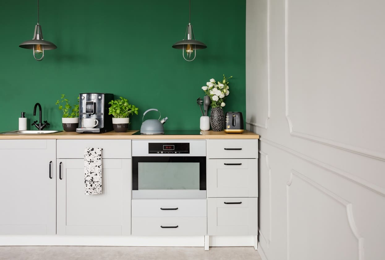 Cuisine Avec Peinture Murale Verte Et Mobilier Blanc