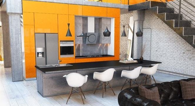 Cuisine Orange Et Grise Pour Une Décoration Originale Et Moderne