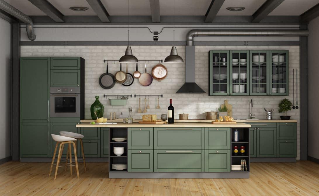 Cuisine Vert Olive Et Grise D'esprit Traditionnel