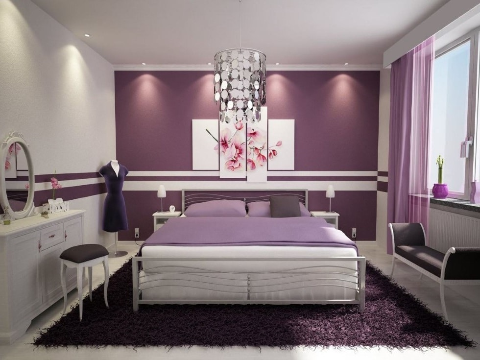 Chambre Violette Et Blanche
