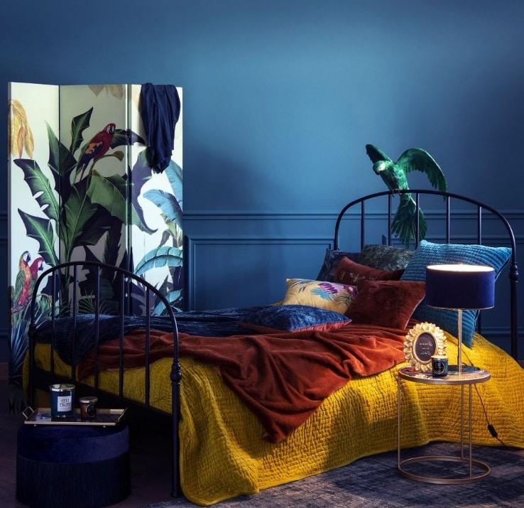 Chambre Bleu Paon Et Jaune Moutarde