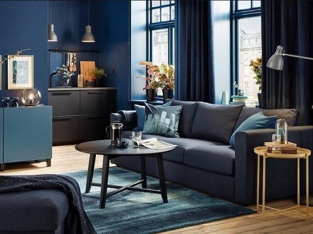 Salon Bleu Nuit Et Gris