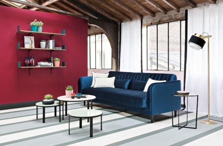 Salon Bleu Nuit Et Rouge
