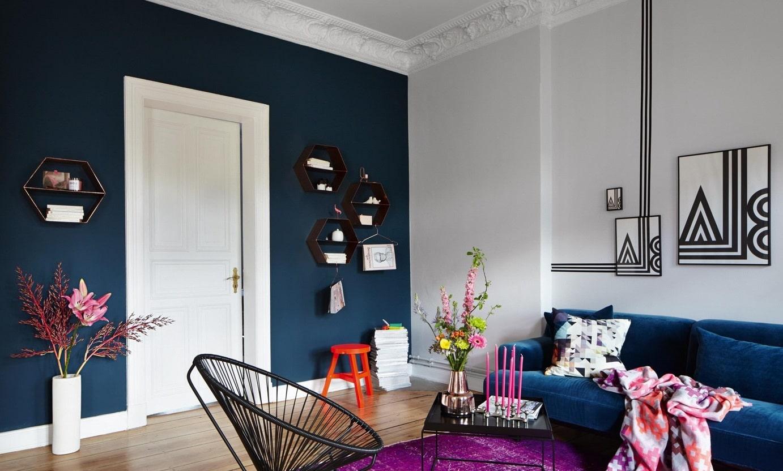 Salon Bleu Paon Et Blanc