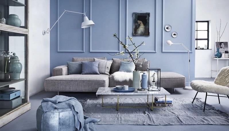 Salon Bleu Pastel Et Gris