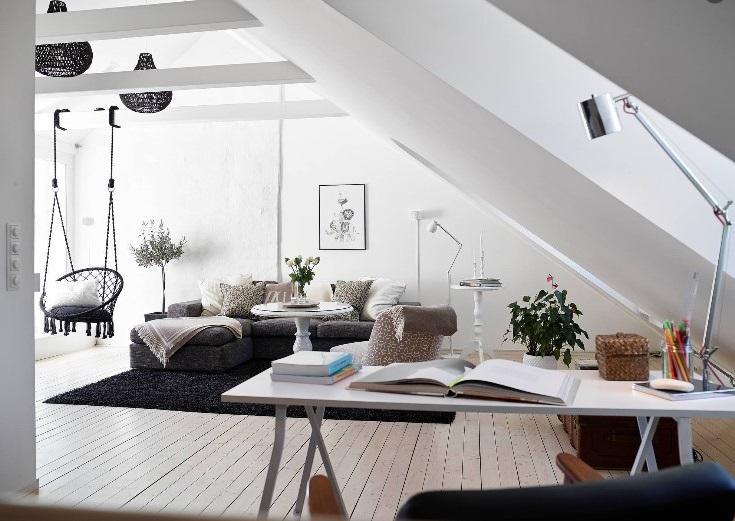 Salon Style Scandinave Sous Combles