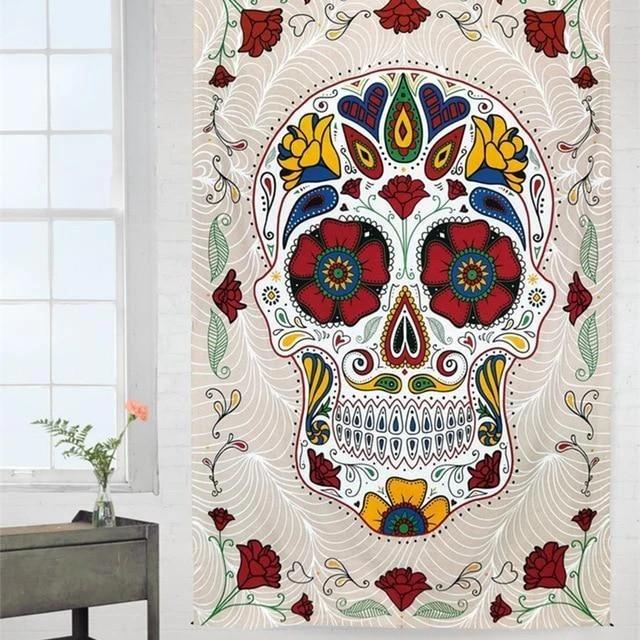 Tête De Mort Et Fleurs