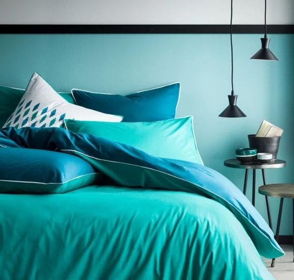 Couette Bicolore Vert Canard Et Bleu