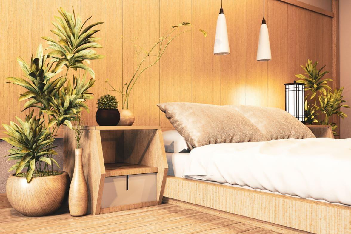 Chambre En Bois Zen Avec Plantes